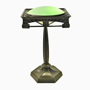 Art Deco Patinated Metal, Bronze, and Glass Table Lamp, 1920s