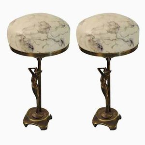 Bronze and Glass Table Lamps from Ateljé Lyktan, 1970s, Set of 2