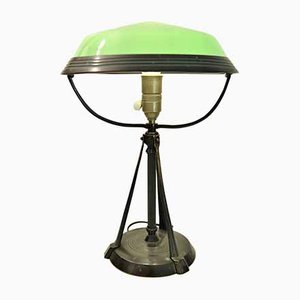 Swedish Glass, Bronze, and Patinated Zinc Table Lamp, 1920s