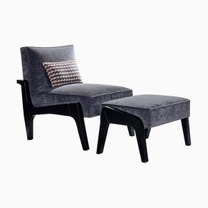 Art Deco Style Black Ebony, Beech Wood, and Ribbed Velvet Atena Chair by Casa Botelho