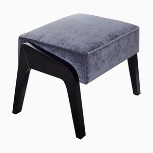 Art Deco Style Black Ebony, Grey Ribbed Velvet, and Beech Ottoman by Casa Botelho