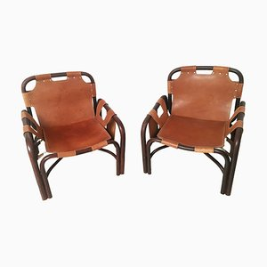 Bamboo and Leather Armchairs by Tito Agnoli, 1960s, Set of 2