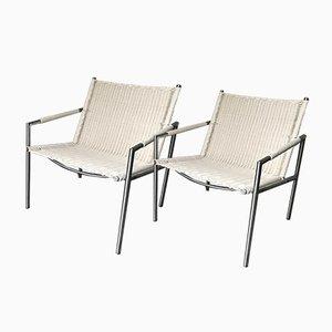 Modell SZ01 Armlehnstühle mit Sitz aus Rohrgeflecht von Martin Visser für t Spectrum, 1980er, 2er Set