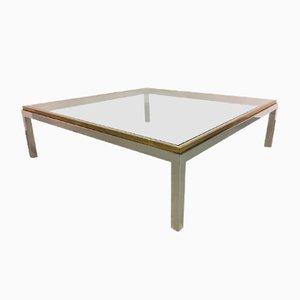 Table Basse Flaminia en Laiton, Verre et Chrome par Willy Rizzo, Italie, 1972