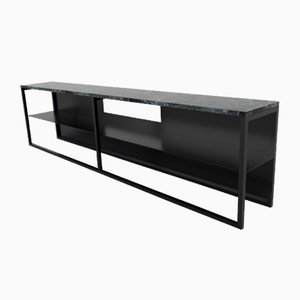 Black Powder Coated and Marble Eros TV Console Table by Casa Botelho