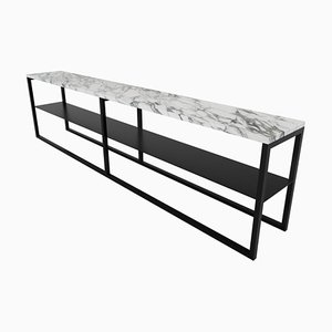Black Powder Coated and Marble Eros Console Table by Casa Botelho