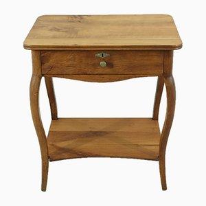 Mesa de costura antigua de madera de cerezo, década de 1870