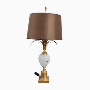 Mid-Century Brass and Opaline Glass Pineapple Table Lamp from Boulanger