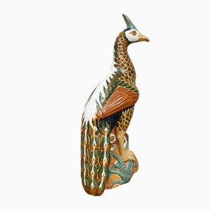 Vintage Ceramic Peacock Sculpture from Karlsruher Majolika, 1960s
