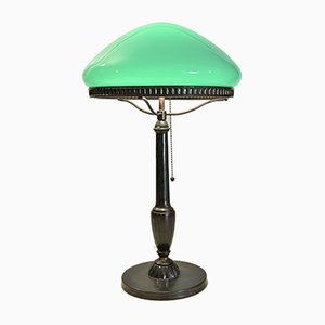 Glass, Bronze, and Patinated Zinc Table Lamp, 1920s