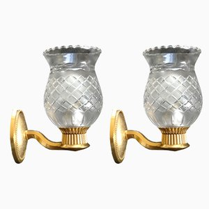 French Brass and Glass Sconces, 1950s, Set of 2