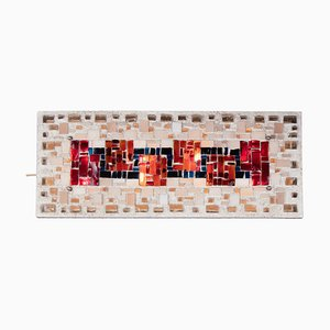 Brutalist Concrete and Glass Shard Mosaic Sconce, 1970s
