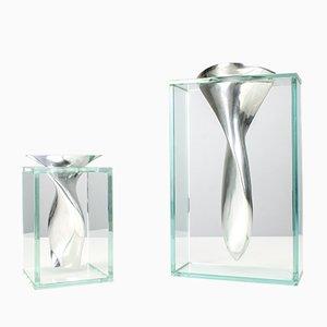 Skulpturale Vasen aus Aluminium & Glas, 1980er, 2er Set