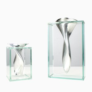 Vases Sculpturaux en Aluminium et Verre, années 80, Set de 2