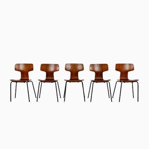 Chaises d'Appoint Modèle Hammer par Arne Jacobsen pour Fritz Hansen, 1969, Set de 5