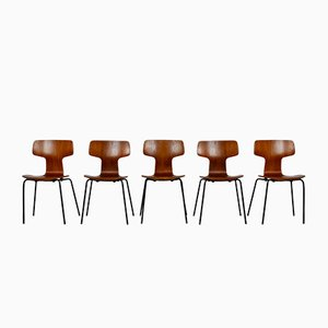 Modell Hammer Beistellstühle von Arne Jacobsen für Fritz Hansen, 1969, 5er Set