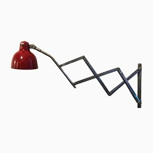 Italian Red Metal Adjustable Pantograph Sconce, 1960s