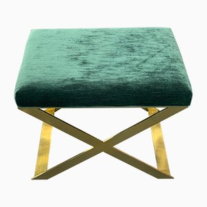 Polished Brass Tint and Ribbed Velvet Stool by Casa Botelho