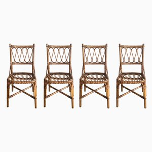 Mid-Century Spanish Bamboo and Wicker Dining Chairs, Set of 4