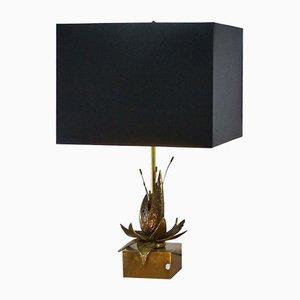 Lampada da tavolo floreale in ottone massiccio, anni '70