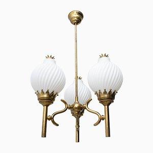 Lampada da soffitto Mid-Century in ottone e vetro opalino di Angelo Lelli per Arredoluce, anni '50