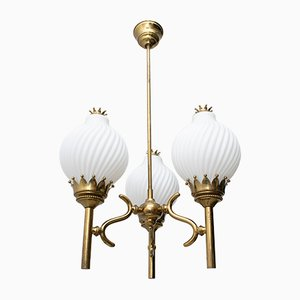 Mid-Century Brass and Opaline Glass Ceiling Lamp by Angelo Lelli for Arredoluce, 1950s