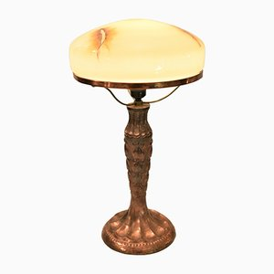 Swedish Glass and Copper Table Lamp, 1920s
