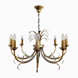 Lámpara de araña en forma de piña de latón y cromo de Maison Jansen, años 70