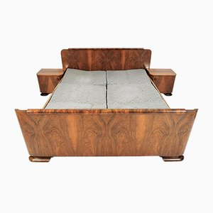 Art Deco Walnut Bed, 1940s