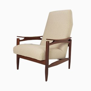 Vintage Danish Teak and Wool Armchair, 1960s