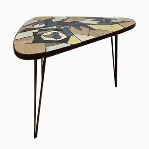 Mid-Century Mosaic and Brass Coffee Table