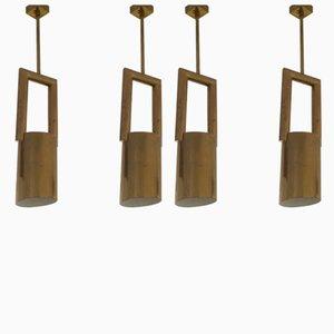 Lampes à Suspension en Laiton, années 70, Set de 4