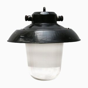 Vintage Industrial Black Enamel and Glass Pendant Lamp, 1950s