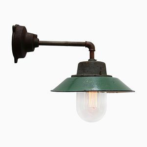 Vintage Industrial Clear Glass and Cast Iron Sconce, 1950s