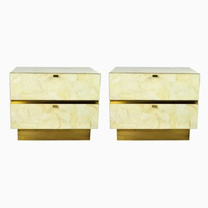 White Rock Crystal and Brass Nightstands by François-Xavier Turrou for Ginger Brown, Set of 2
