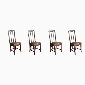 Art Nouveau Dining Chairs, 1920s, Set of 4