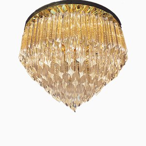 Italian Gold Plated and Crystal Flush Ceiling Lamp by Paolo Venini for Camer, 1970s