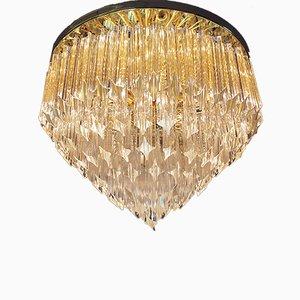 Vergoldete italienische Deckenlampe aus Kristallglas von Paolo Venini für Camer, 1970er