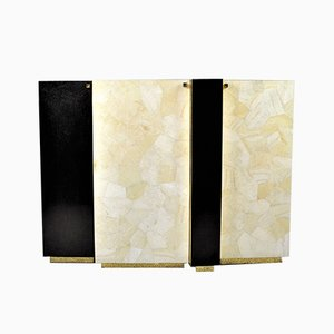 Gold Leaf Fiber Marquetry, Black Stone, Brass, and White Rock Crystal Cabinet by François-Xavier Turrou for Ginger Brown