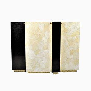 Mueble de pared de marquetería con cuentas de oro, piedra negra, latón y cristal blanco de François-Xavier Turrou para Ginger Brown