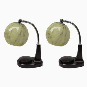 Lámparas de mesa Bauhaus de baquelita de Marianne Brandt para GMF, años 20. Juego de 2