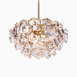 German Gold-Plated Crystal Chandelier from Kinkeldey, 1960s