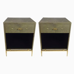Faux-Shagreen Embossed Resin, Brass Patina, and Brass Nightstands from Ginger Brown, Set of 2