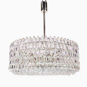 Großer silberner Kronleuchter mit Behang aus Kristallglas von Bakalowits & Söhne, 1950er