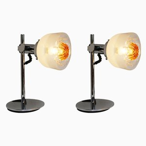 Murano Glass and Chrome Table Lamps from Mazzega, 1970s, Set of 2