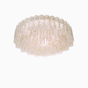 Lampada da soffitto in vetro di Murano e ottone di Doria Leuchten, anni '60
