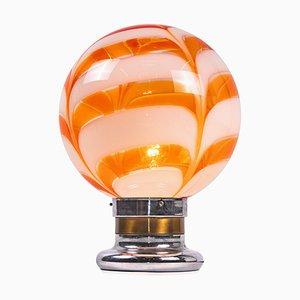 Italienische Deckenlampe aus orangefarbenem Muranoglas & Chrom von Mazzega, 1970er
