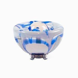Blaue Tischlampe aus Muranoglas & Chrom von Mazzega, 1970er