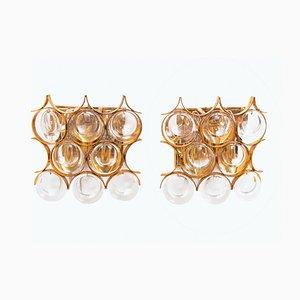 Vergoldete deutsche Wandleuchten aus Kristallglas von Christoph Palme für Palwa, 1960er, 2er Set