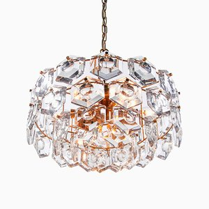 German Gold Plated Crystal Chandelier from Kinkeldey, 1960s